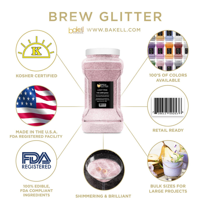 Light Pink Edible Glitter for Beer & Drinks | Food Grade Brew Glitter-Beer Glitter-Bakell