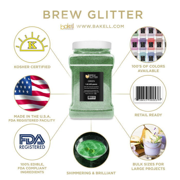 Green Brew Glitter | Edible Glitter for Sports Drinks & Energy Drinks-Sports Drink_Brew Glitter-Bakell