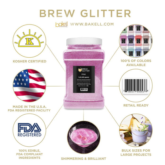 Pink Edible Glitter for Beer & Drinks | Food Grade Brew Glitter-Beer Glitter-Bakell