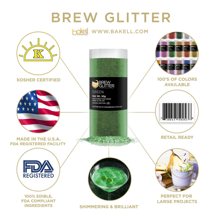 Green Edible Glitter for Beer & Drinks | Food Grade Brew Glitter-Beer Glitter-Bakell