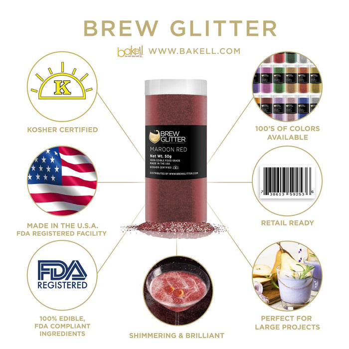 Maroon Edible Glitter for Beer & Drinks | Food Grade Brew Glitter-Beer Glitter-Bakell