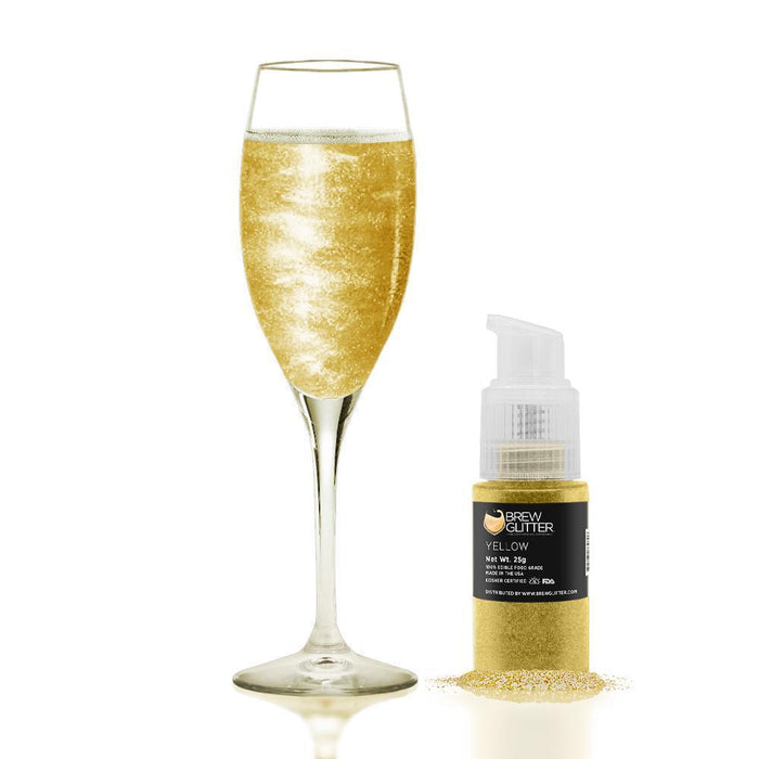 Yellow Edible Glitter Spray Pump for Drinks-Brew Glitter_25PUMP-Bakell