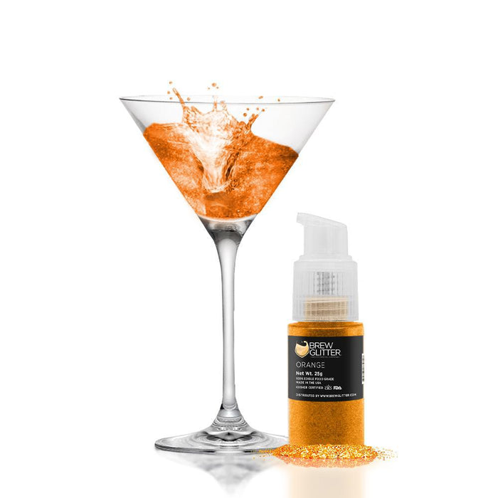 Orange Edible Glitter Spray Pump for Drinks-Brew Glitter_25PUMP-Bakell