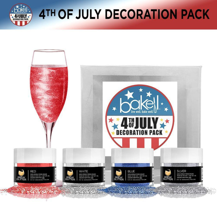 4th of July 4-Piece Edible Drink Glitter Kit-Decorating Kits-Bakell