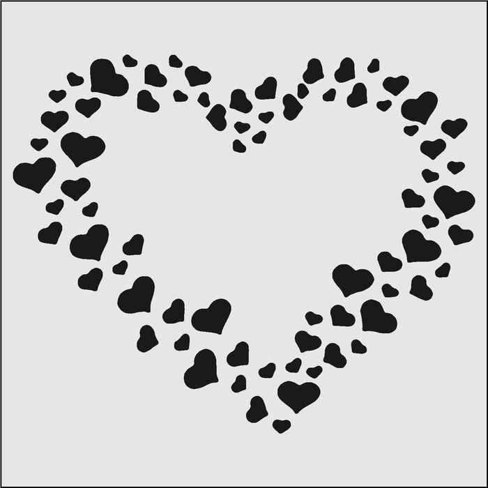 5x5 Hearts in a Heart Print Stencil-Stencils-Bakell
