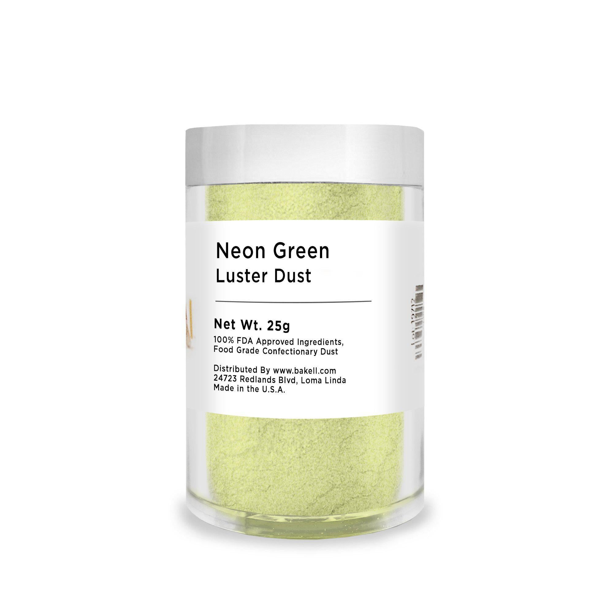 Neon Green Edible Luster Dust | Lime Green Luster Dust | Kosher Certified Luster Dust | FDA Approved Glitter | Green Edible Paint | Bakell.com