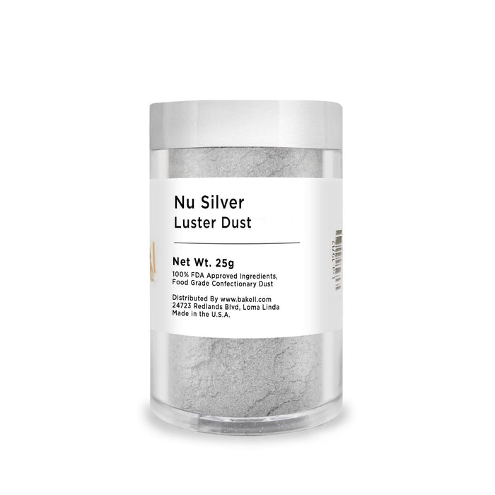 Nu Super Silver Edible Luster Dust-Luster Dusts-Bakell