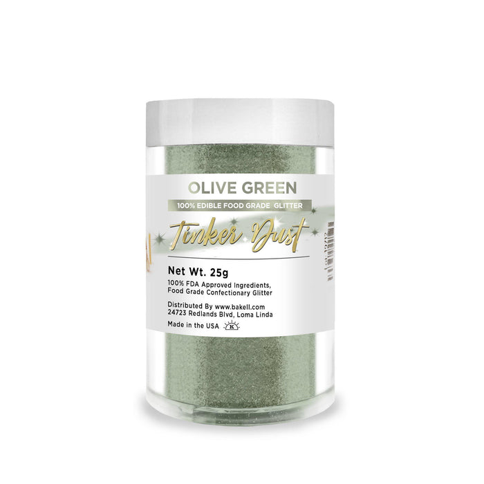 Olive Green Tinker Dust Edible Glitter, 5g Jar | Food Grade Glitter-Tinker Dust-Bakell