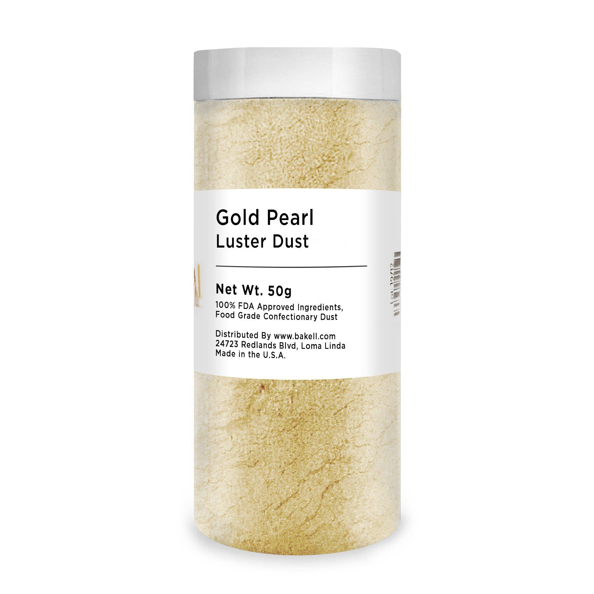Edible Gold Pearl Luster Dust | FDA Approved Glitter & Kosher Certified Glitter | Edible Gold Paint | Pink MICA Powder | Bakell.com