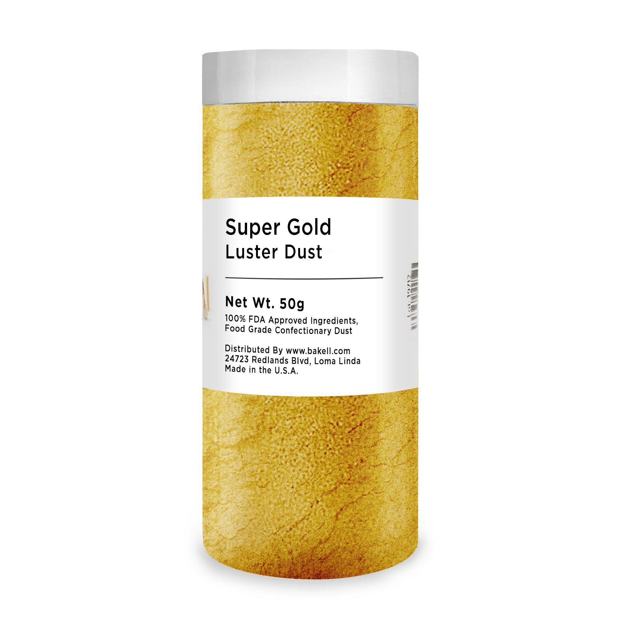 Super Gold Edible Luster Dust & Edible Paint | FDA Approved Metallic Edible Glitter | FDA Compliant edible glitter & edible dust | Kosher Certified Glitter | Bakell.com