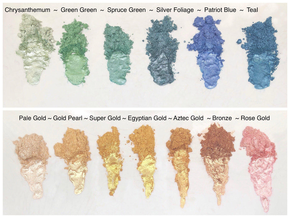 Color Chart | Chrysanthemum Green Edible Luster Dust | FDA Approved | Bakell® #1 site for FDA Compliant edible glitter & edible dust | Bakell.com
