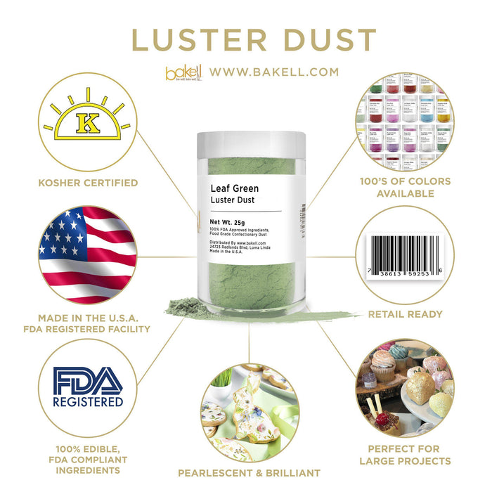 Leaf Green Luster Dust by the Case-Wholesale_Case_Luster Dust-Bakell
