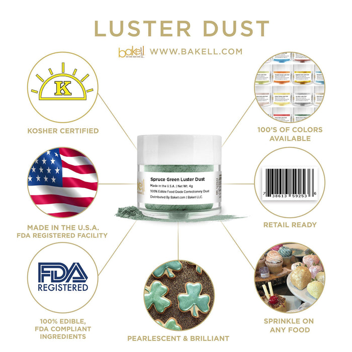 Spruce Green Edible Pearlized Luster Dust-Luster Dusts-Bakell