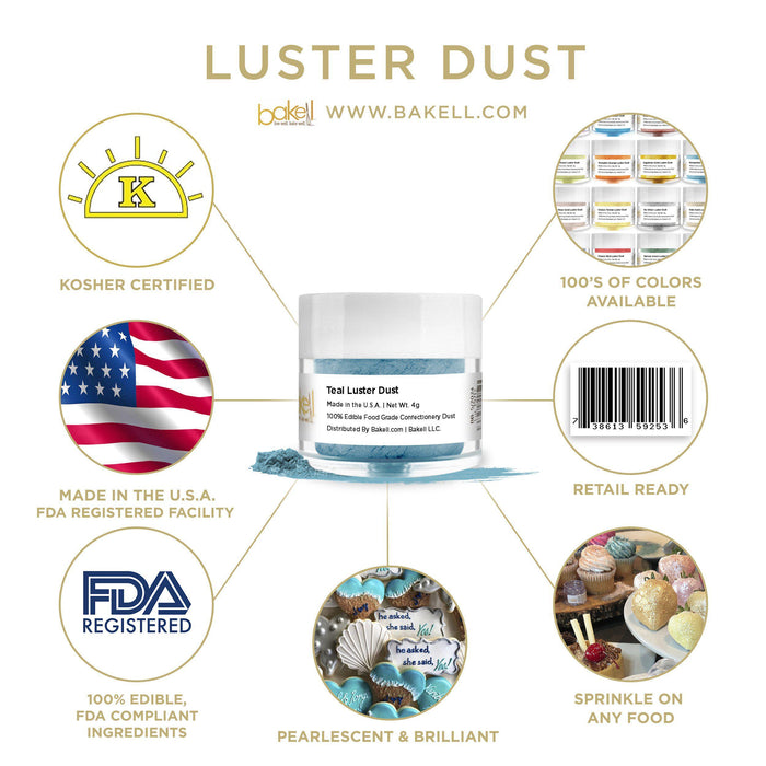Teal Luster Dust by the Case-Wholesale_Case_Luster Dust-Bakell