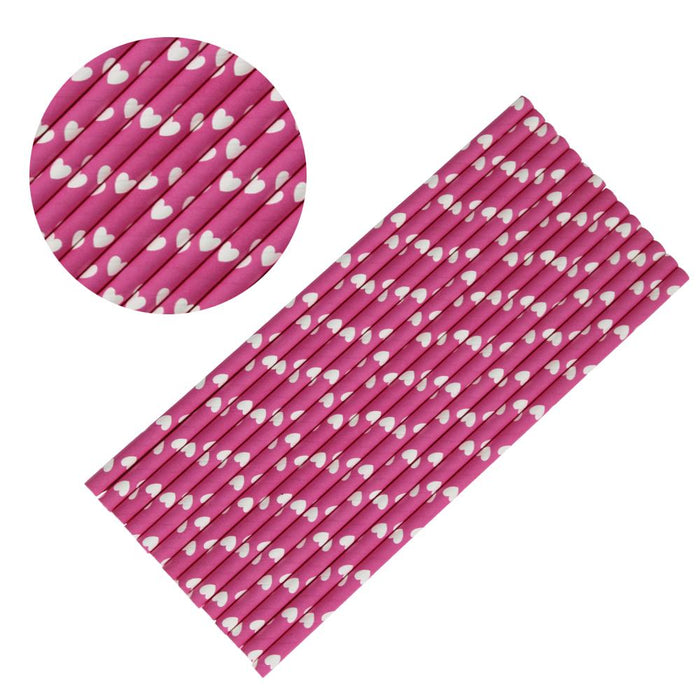 Pink and White Heart Polka Dot Cake Pop Party Straws-Cake Pop Straws-Bakell
