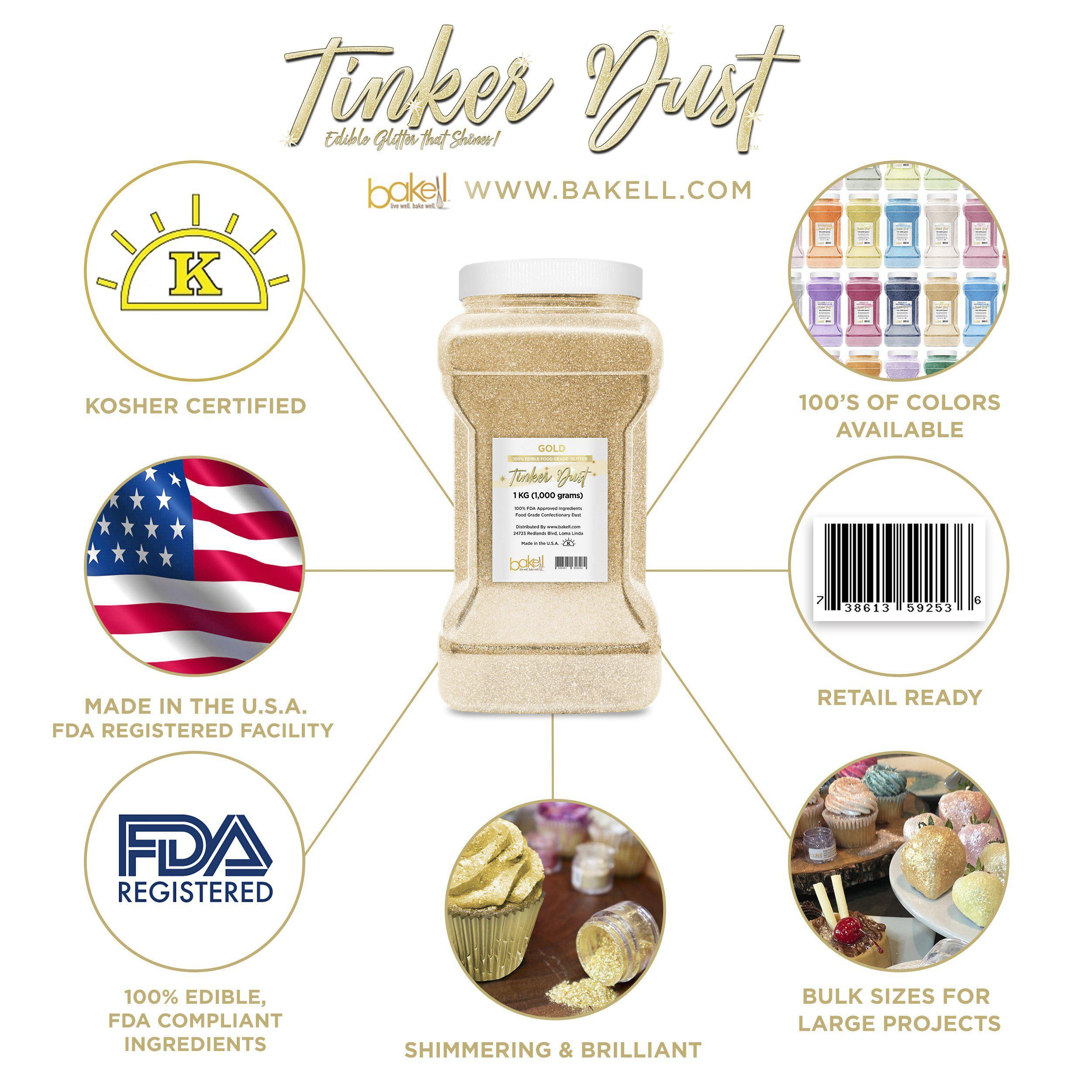Gold Edible Tinker Dust | Bulk Sizes-Bulk_Tinker Dust-Bakell
