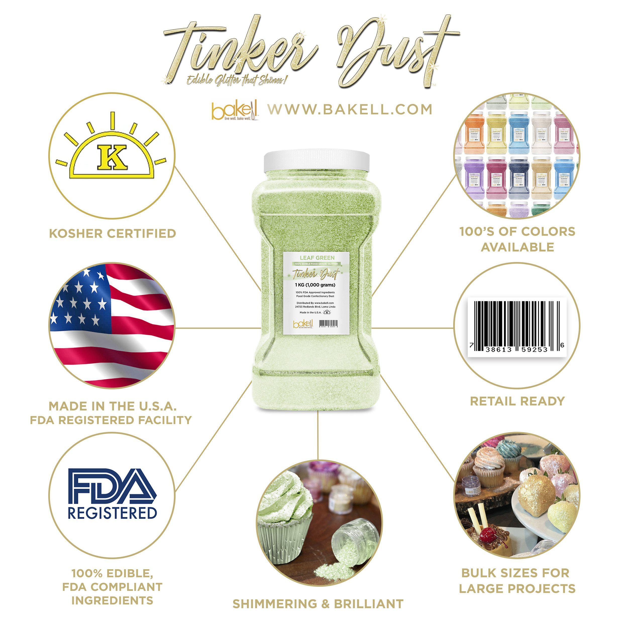 Leaf Green Tinker Dust Edible Glitter, 5g Jar | Food Grade Glitter-Tinker Dust-Bakell