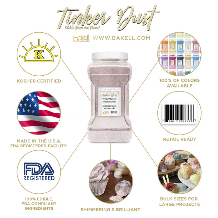 Rose Gold Tinker Dust Edible Glitter, 5g Jar | Food Grade Glitter-Tinker Dust-Bakell