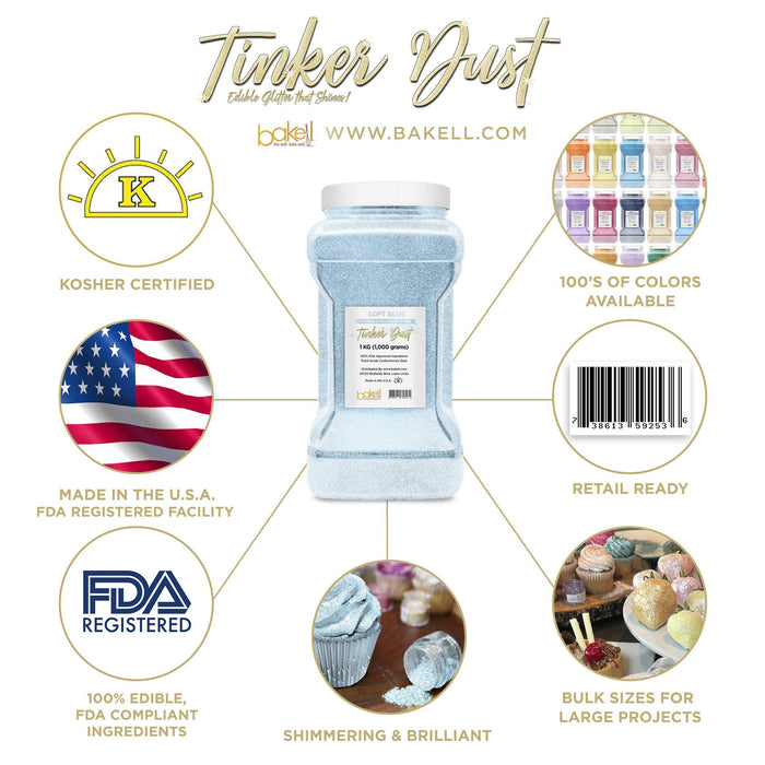 Soft Blue Tinker Dust Edible Glitter, 5g Jar | Food Grade Glitter-Tinker Dust-Bakell
