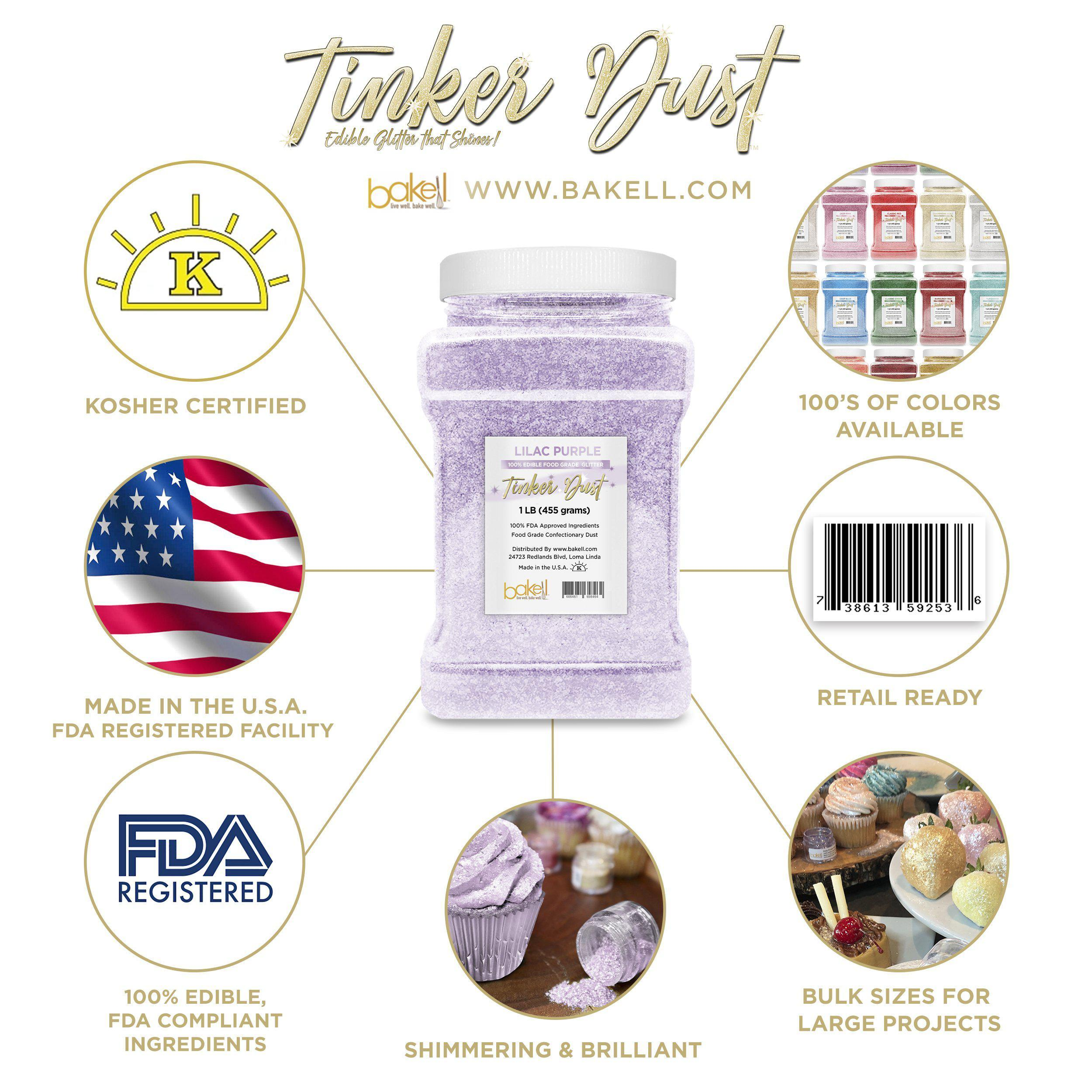 Lilac Purple Tinker Dust Edible Glitter, 5g Jar | Food Grade Glitter-Tinker Dust-Bakell