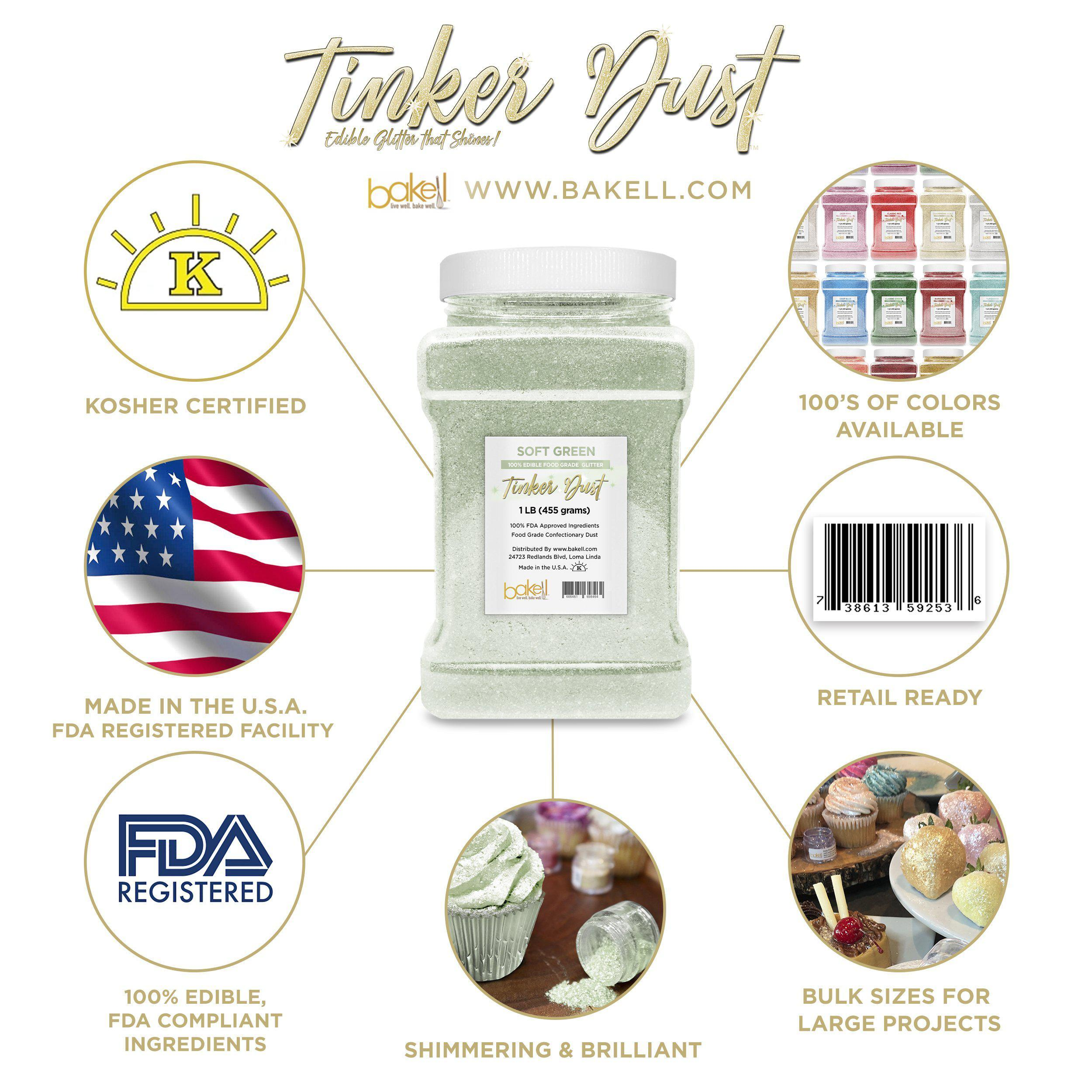 Soft Green Tinker Dust Edible Glitter, 5g Jar | Food Grade Glitter-Tinker Dust-Bakell