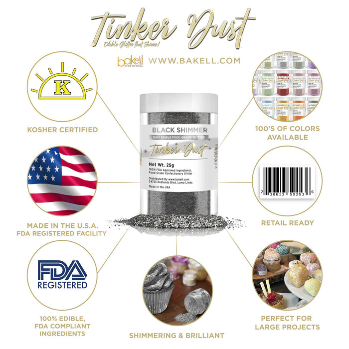 Black Tinker Dust Edible Glitter, 5g Jar | Food Grade Glitter-Tinker Dust-Bakell