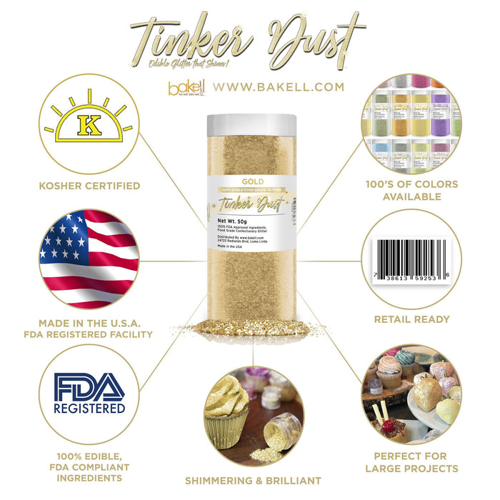 Gold Tinker Dust Edible Glitter, 5g Jar | Food Grade Glitter-Tinker Dust-Bakell