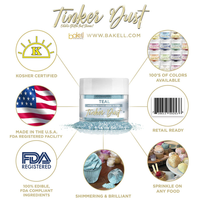 Teal Tinker Dust Edible Glitter, 5g Jar | Food Grade Glitter-Tinker Dust-Bakell