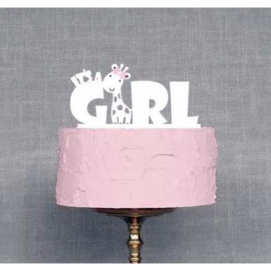 "All White Acrylic ""It's a Girl"" Baby Shower Cake Topper-Cake Toppers-Bakell- 