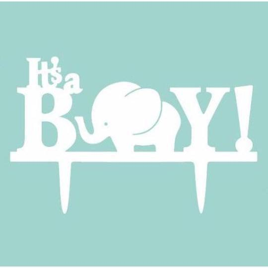 "All White ""It's a Boy"" Baby Shower Acrylic Cake Topper-Cake Toppers-Bakell- 