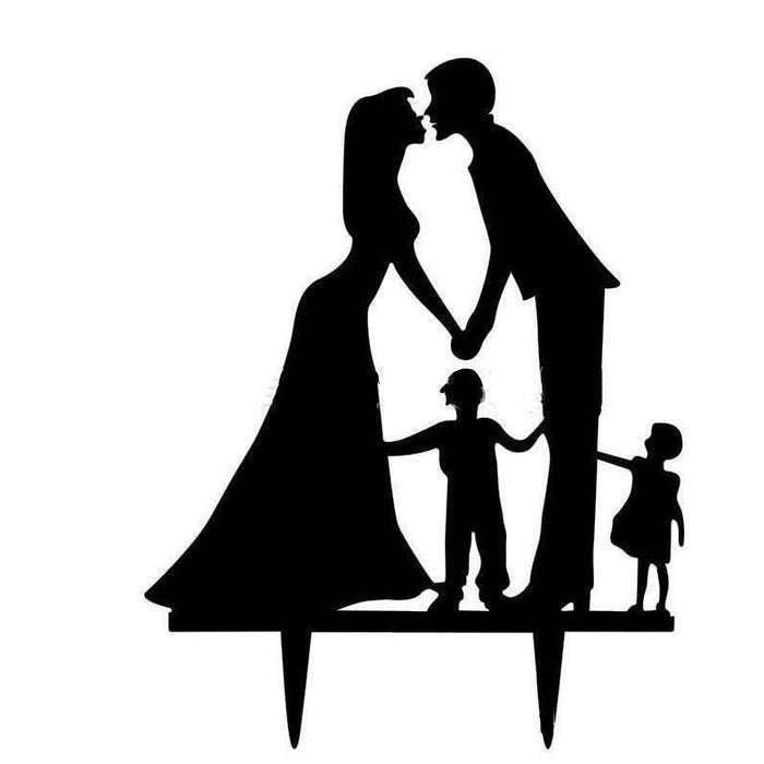 Bride, Groom & Children Wedding Cake Topper | Bakell-Cake Toppers-Bakell- | Bakell.com