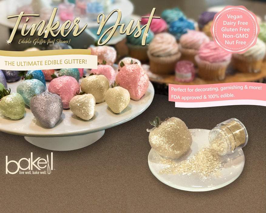 Bright Gold Edible Glitter | FDA Approved Ingredients | 100% Edible | Tinker Dust | Bakell