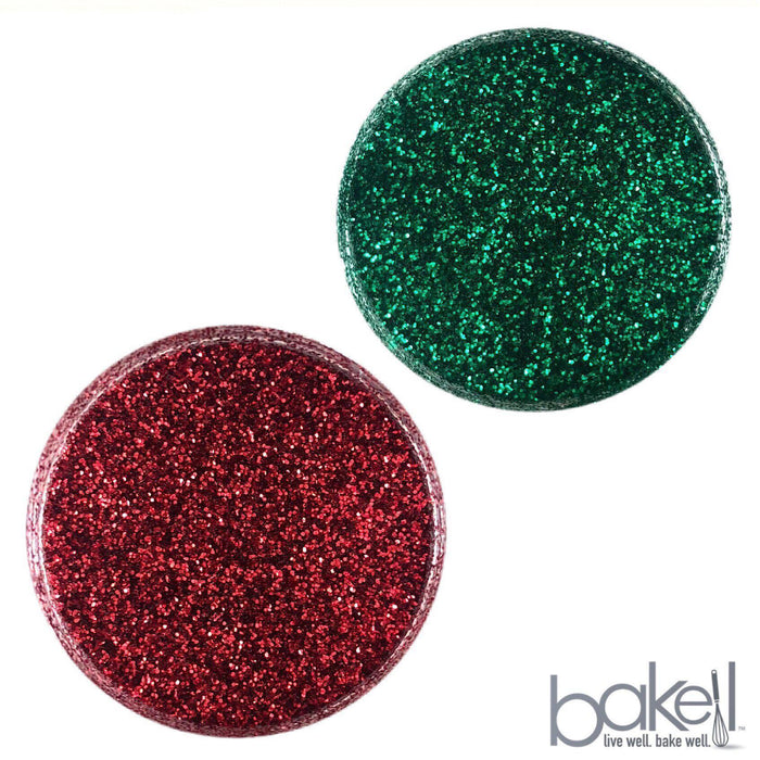 Christmas Green & Red Decorating Dazzler Dust 2 Jar Set, each 5g | Bakell-Disco Dusts-Bakell- | Bakell.com