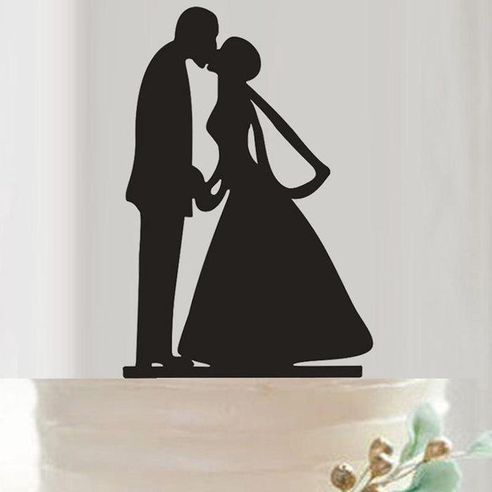 Classic Love and Wedding Silhouette Wedding Cake Topper-Cake Toppers-Bakell- | Bakell.com