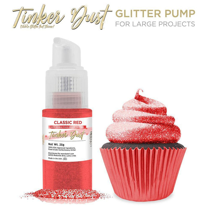 Classic Red Tinker Dust Edible Glitter Spray Pump-Tinker Dust_Pump-Bakell