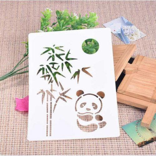Cute Sitting Panda, Tree and Moon Stencil-Stencils-Bakell- | Bakell.com