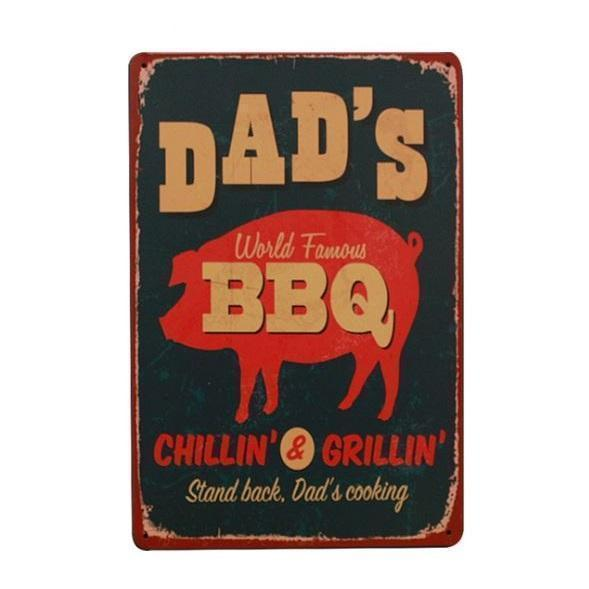 Dad's World Famous BBQ Metal Wall Decoration Gift | BBQthingz-Gifts-BBQthingz- | Bakell.com