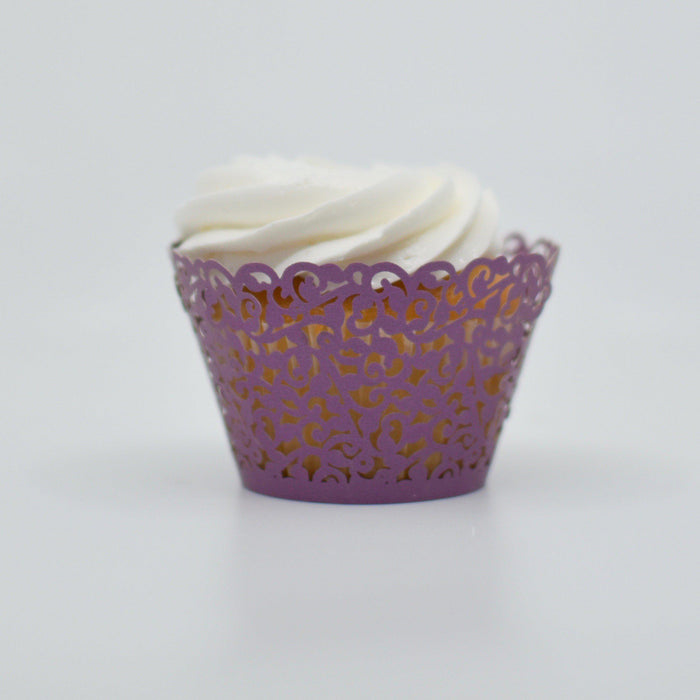 Deep Purple Lace Cupcake Wrappers-Wrappers & Liners-Bakell
