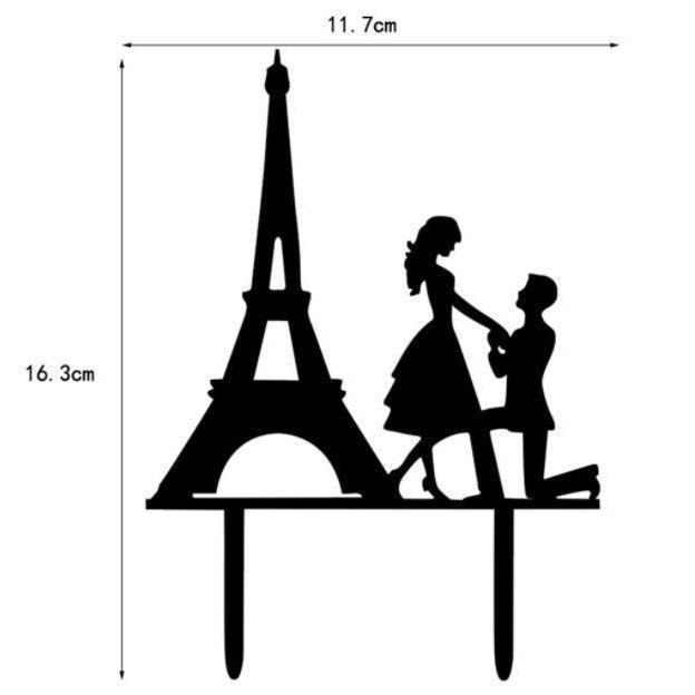 Eiffel Tower Paris France Proposal Black Silhouette Acrylic Wedding Cake Topper-Cake Toppers-Bakell- | Bakell.com