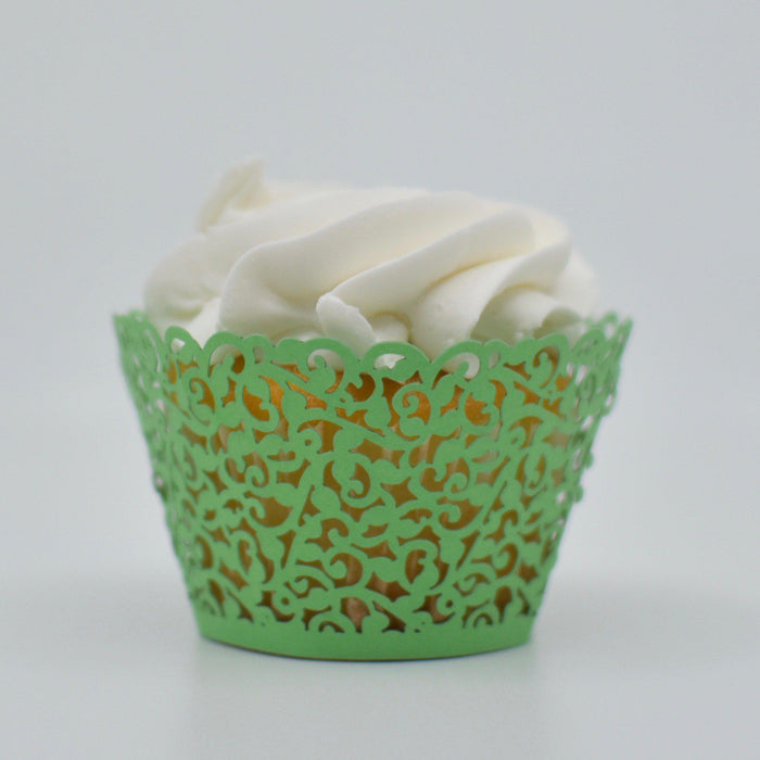 Green Lace Cupcake Wrappers-Wrappers & Liners-Bakell