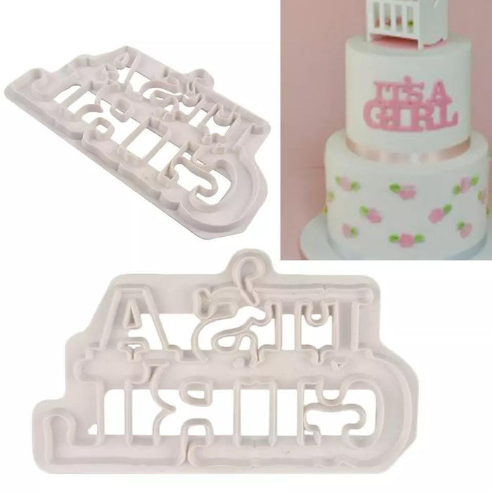 """It's a girl cookie cutter"" Baby Shower Pattern Confectionery Cutter 