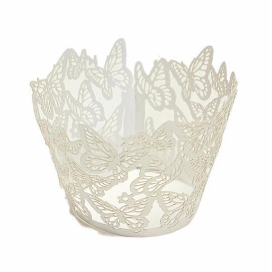 Ivory Lace Butterfly Cupcake Wrappers & Liners | #1 Site for Wrappers | Bakell.com