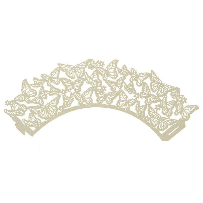 Ivory Lace Butterfly Cupcake Wrappers & Liners | Bakell.com