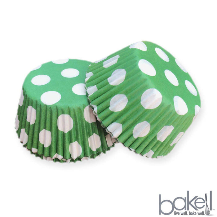 Light Green & White Polka Dot Cupcake Wrappers & Liners | Bakell.com
