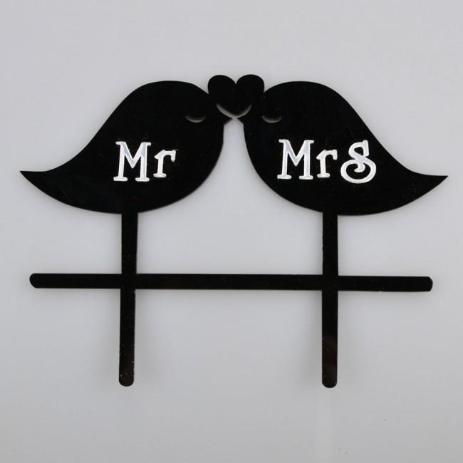 Mr and Mrs Love Birds Wedding Cake Topper-Cake Toppers-Bakell- | Bakell.com