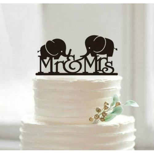 Mr and Mrs Love Elephants Wedding Cake Topper-Cake Toppers-Bakell- | Bakell.com