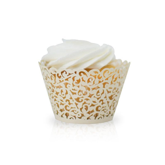 Off-White Lace Floral Cupcake Wrappers & Liners | Bakell.com