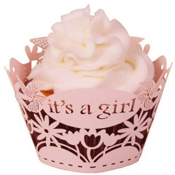 "Pink Baby Shower ""Its a Girl"" Cupcake Wrappers & Liners 