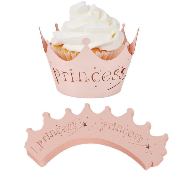 Princess Crown Peachy-Pink Cupcake Wrapper | Bakell.com