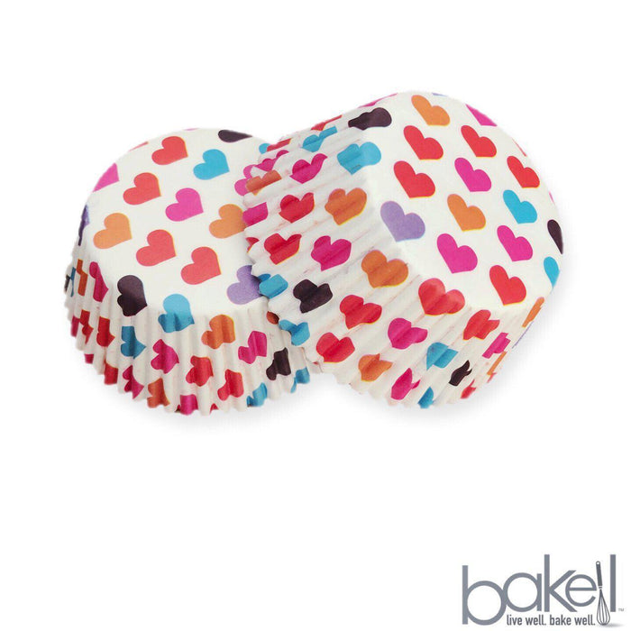 Rainbow Colored Hearts Pattern Cupcake Wrappers | Bakell.com